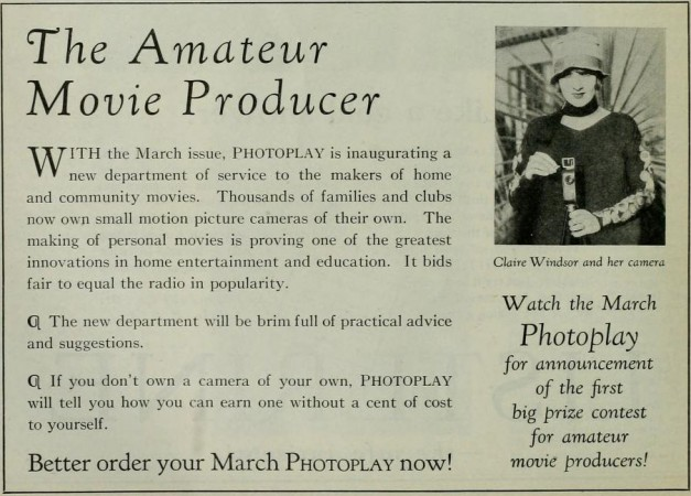 Ad for Photoplay's Amateur Movie Column, Photoplay, February 1927, 28.