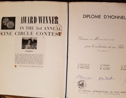 Image of the Cannes Diploma from 1958.