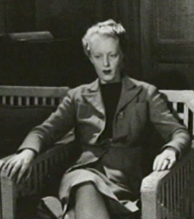 Dorothy Burritt sitting for the portrait in Suite Two.