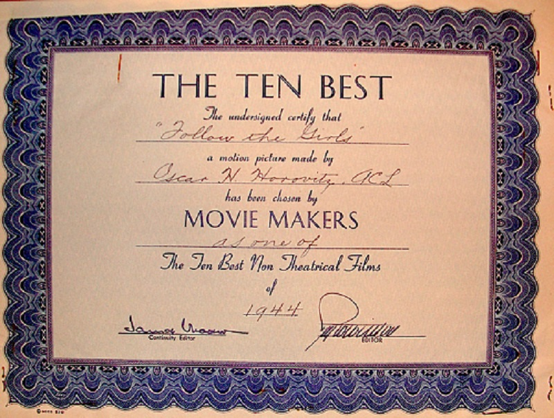 ACL Ten Best of 1944 Certificate