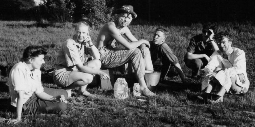 The cast and crew of the experimental film comedy Glub, on location at Sea Island, 1947. Left to right: Moira Armour, Dorothy Burritt, actor Tom Baird, Rolph Blakstad, Maureen Balfe, and director/actor Stanley Fox (far right). (Photo courtesy Stanley Fox)