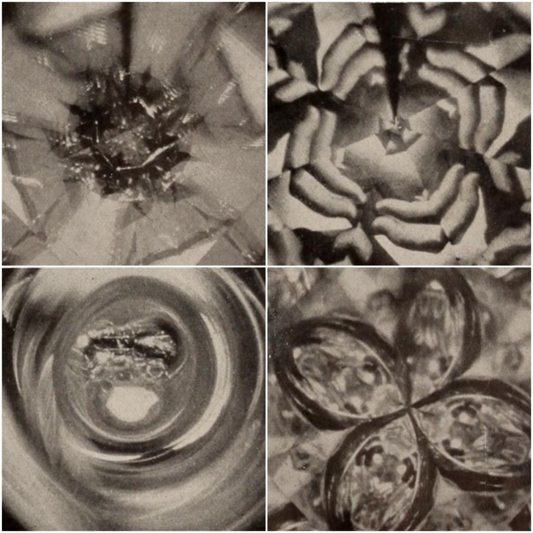 Four monochrome images from Kaleidoscopio (1946), which was a colour film