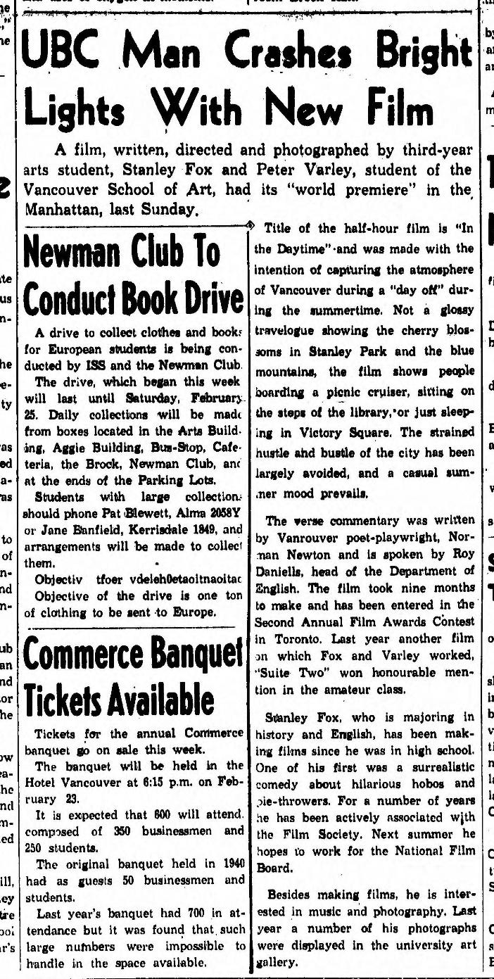 The Ubyssey, February 16, 1950, p. 1