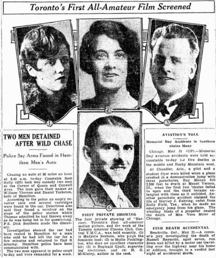 First screening of Barriers: Toronto Daily Star, May 31, 1930, p. 35.