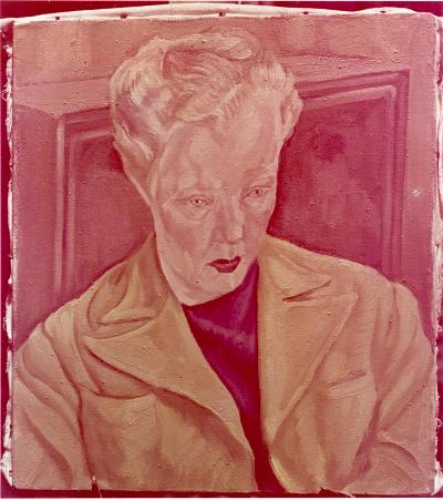 A photograph of Peter Bortkus' 1947 portrait of Dorothy Burritt. Over time, the other dyes in this Anscocolor print have faded to emphasize the magenta. (BC Archives image J-00156)